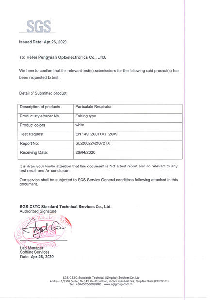 China Hebei Pengyuan Optoelectronic Co.,Ltd Certificaciones